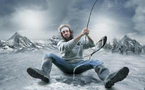 Ситуации: клёв, мужик, зима, юмор, подсечка, рыбак
