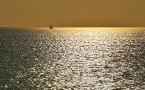 Минимализм: пейзаж, ночь, море, лодка