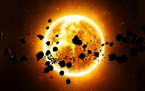 Космос: звезда, астероиды, камни, оранжевая, космос