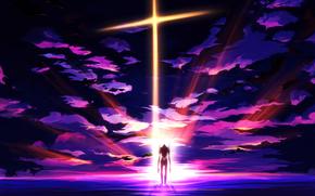Аниме: робот, аниме, облака, меха, небо, закат, арт