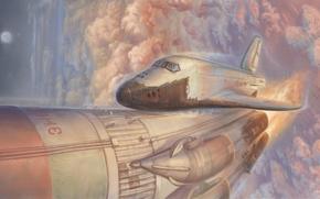 Космос: небо, шаттл, космический корабль, взлет, облака