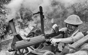Мужчины: солдат, пулемёт, оружие, противогаз, мужчина, чб