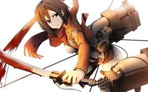 Аниме: оружие, жест, полет, кровь, взгляд, девушка, трос