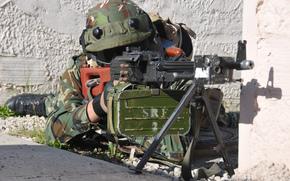 Мужчины: солдат, пулемёт, оружие, армия