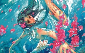 Аниме: арт, девушка, аниме, лепестки, под водой, пузыри, цветы