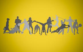 Минимализм: силуэт, фон, люди, спорт