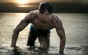 Мужчины: парень, мышцы, атлет, вода