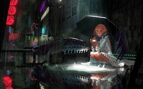 Аниме: арт, улица, ночь, дождь, крылья, девушка, зонт, город
