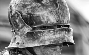 Мужчины: шлем, мужчина, доспехи, воин, чб