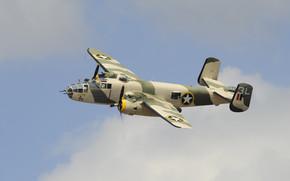 Авиация: американский, полет, средний, небо, бомбардировщик, двухмоторный