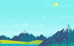 Текстуры: солнце, домики, Горы, небо, олени, озеро, облака, лес