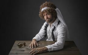 Мужчины: портрет, кучерявый, студия