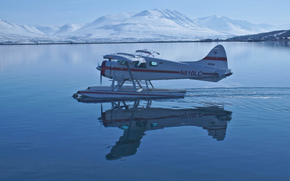 Авиация: горы, гидроплан, отражение, вода, Швеция