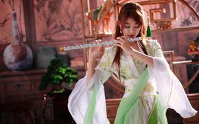 Музыка: девушка, инструмент, флейта, музыка