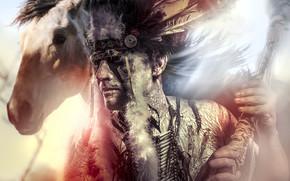 Мужчины: индеец, лицо, перья, конь, мужчина, лошадь