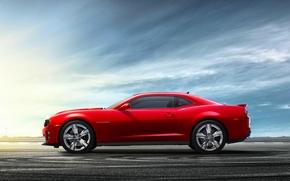 Машины: Красный, Купэ, Небо, Колеса, Асфальт, Вид сбоку, Chevrolet, Шевроле