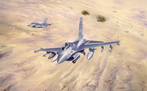 Авиация: лёгкие, земля, «Буря в пустыне», небо, иракская, взрывы, рисунок, многофункциональные, Кувейт, бронетехника, самолёты, арт, операция, истребители
