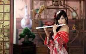 Музыка: девушка, инструмент, музыка
