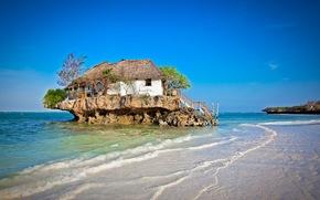 Природа: дом, лестница, море, деревья, островок