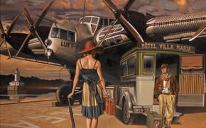 Разное: машина, рисунок, чемодан, шляпа, спина, женщина, самолет, мужчина, зонтик