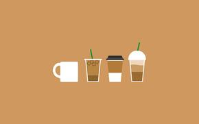 Минимализм: чашка, лед, коктейль, трубочка, стакан