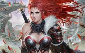 Обои Фантастика: арт, рукоятка, лепестки, фэнтези, красные волосы, девушка