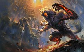 ����: Smite, fire, hellhound, castle, battle