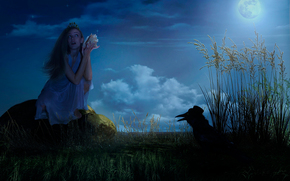 Ситуации: ворон, сказка, луна, шляпа, звёзды, девушка, фантазия, ночь