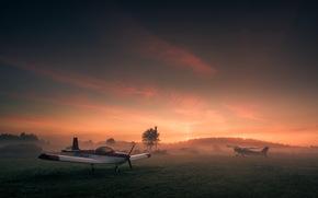 Авиация: самолёт, авиация, поле, закат