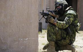 Мужчины: камуфляж, солдат, пулемёт, армия, оружие