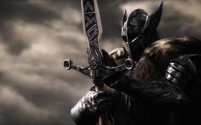 Рендеринг: доспехи, меч, рендеринг, шлем, воин, фон, металл, рыцарь