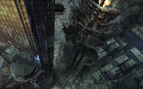 Фантастика: разрушение, катастрофа, дым, город, арт, башни, огонь