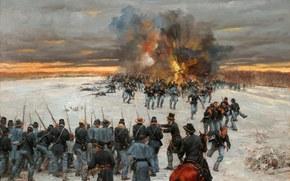 Оружие: отступление, солдаты. оружие, картина, масло, война между Севером и Югом, Северная Америка, холст