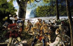 Разное: хост, Америка, охотники, (краснокожие), индейцы, ножи, вооруженное, картина, (бледнолицые), ружья, масло, Дикий запад, томогавки, раскраска, столкновение