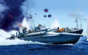 Оружие: пулемета, море, торпедный, катер, Великобритания, быстрый, корабль, сражение, арт, художник, торпедных, аппарата, двигателя, воздух, флот, три, глубинные бомбы, трубных, вооружение, легкий, зкипаж, скорость
