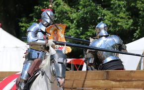 Мужчины: конь, лошадь, рыцари, металл, доспехи, турнир