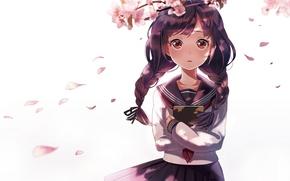Аниме: аниме, ветви, лепестки, арт, девушка, косички, форма, сакура, школьница, книга, цветы