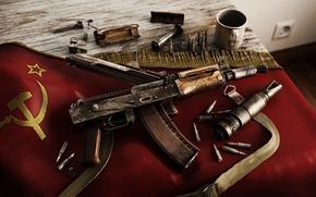 Оружие: калаш, автомат