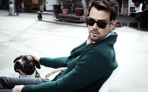 Мужчины: лицо, собака, мужчина, актер, Джош Дюамель, очки