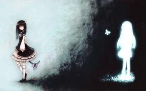 Аниме: бабочка, когда плачут чайки, бант, девушки, хвост, аниме, арт