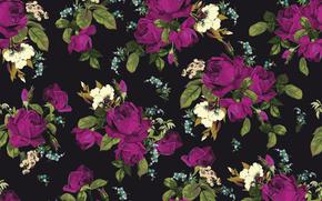 Текстуры: текстура, принт, розы, фон, цветы