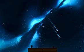 Аниме: небо, арт, двое, девушка, скамейка, парень, аниме, ночь, звезды