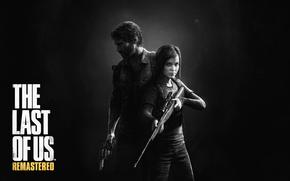 Игры: мужчина, винтовка, Джоэл, револьвер, борода, тьма, прицел, фонарик, девочка, защитник, лого, рюкзак, взгляд, Одни из нас, Элли, оружие