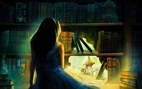 Фантастика: арт, часы, дыра, волосы, спина, голубое платье, книжный шкаф, книги, девушка, песочные часы, статуэтка, плечи, свет