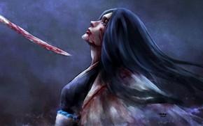 Аниме: девушка, меч, синигами, плащ, отчаянье, Блич, кровь, капитан