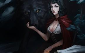 Фантастика: красная шапочка, арт, волк, фонарь, девушка, плащ