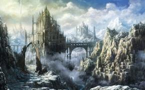 Фантастика: замок, арт, мост, крепость, пейзаж, горы. облака
