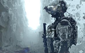 Разное: солдат, шлем, развалины, костюм