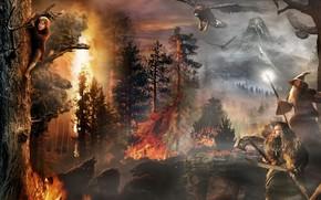 Фильмы: Бильбо, Гэндальф, пожар, Нежданное путешествие, орлы, варги, волки, деревья, Хоббит, Торин