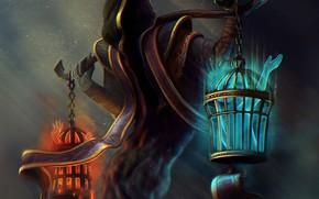 Фантастика: существо, капюшон, клетки, арт, сборщик, души